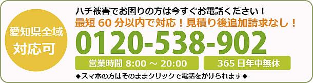東京都蜂駆除・巣の撤去電話お問い合わせ「0120-538-902」