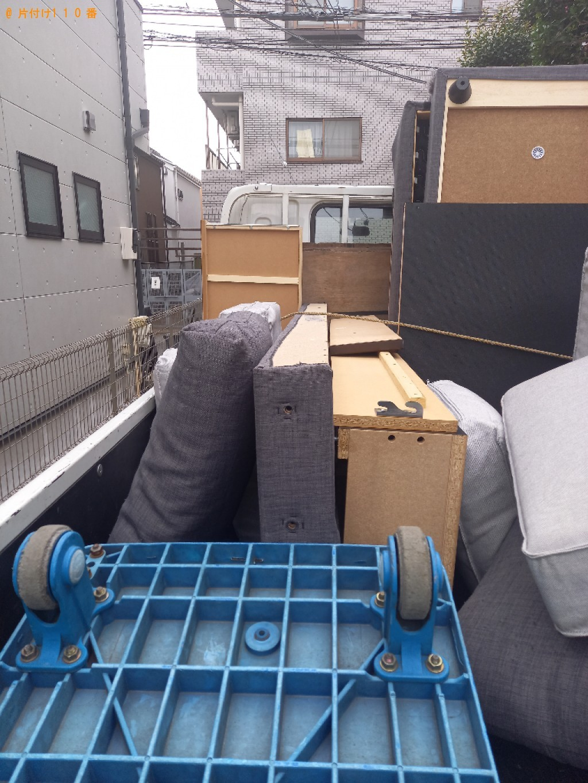 【世田谷区】セミダブルベッド、二人掛けソファーの回収・処分ご依頼