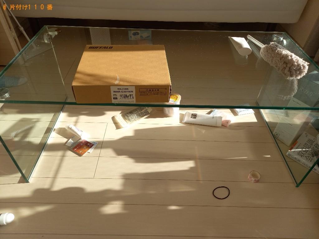 【世田谷区】ガラステーブル、マットレス付きシングルベッド等の回収