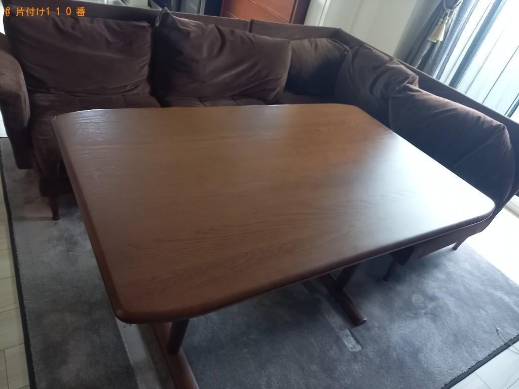 二人用ダイニングテーブル、三人掛けソファーの回収・処分